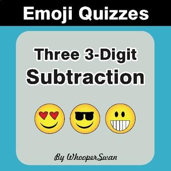 Three 3-Digit Subtraction Emoji Quiz