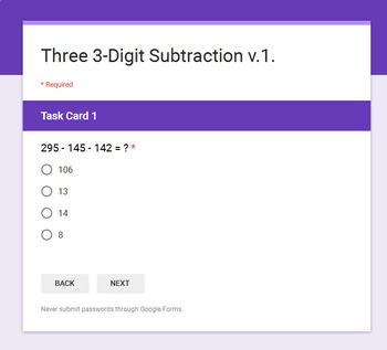 Three 3-Digit Subtraction - Interactive Digital Task Cards - Google Forms