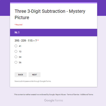 Three 3-Digit Subtraction - Superhero Mystery Picture - Google Forms