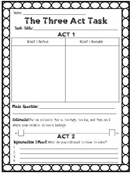 three act task student recording sheet by peach state teach tpt