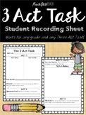 Three Act Task Student Recording Sheet