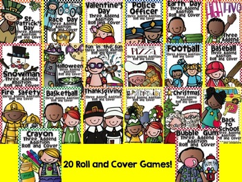 Three Addend Addition Roll and Cover Bundle for the Whole School Year