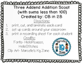 Three Addend Addition Scoot- sums less than 100