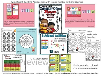 Three Addend Adition Common Core MAFS Envistion Mat Counter n Worksheets