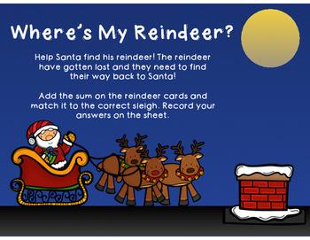 Three Addend Christmas Math Centers