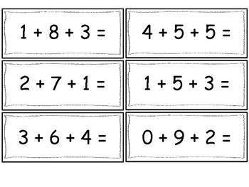 Three Addend Equation Fluency Cards