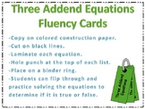 Three Addend Equation Fluency Cards