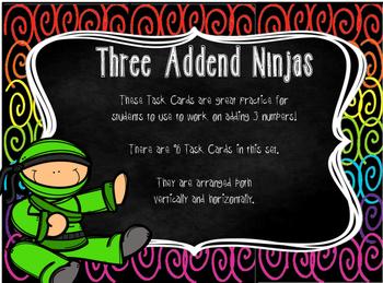 Three Addend Ninja Task Cards