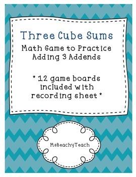 3 Addends Practice {three cubes sum-math game}