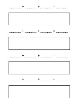 Three Addend Recording Sheet, Dice Game
