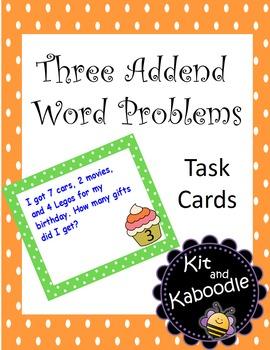 Three Addend Word Problems