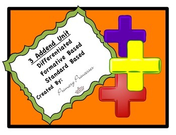 Three Addends Differentiated math unit first grade