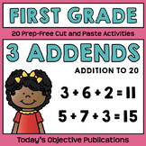 Three Addends (First Grade Cut and Paste Practice)
