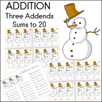 ADDITION Three Addends Math Center With Answer Key (Sums to 20)