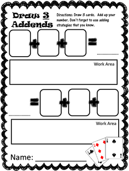 Three Addends:  Three different activities for adding three numbers!