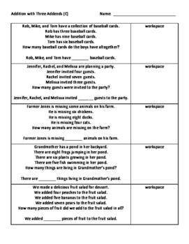 Three Addends Word Problems