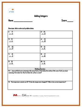 Three Adding Integers Worksheets w/ Answer Keys