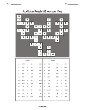 Three Addition Crossword Puzzles WITH Answer Keys