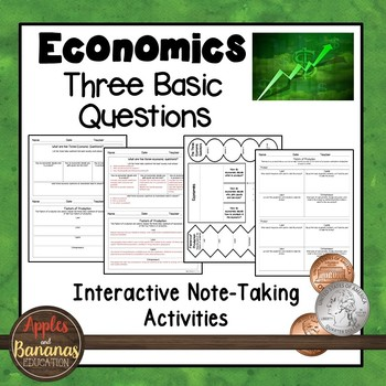 Three Basic Questions - Economics Interactive Note-taking Activities