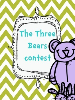 Three Bears Coloring Contest Beginning of the Year Kindergarten
