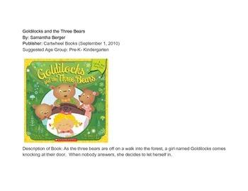 Three Bears Curriculum Web, Lesson Plan, Interest Centers