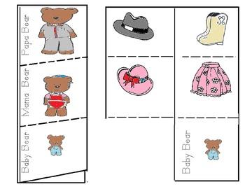 Three Bears Sorting Foldable Math Activities Eng. and Spanish