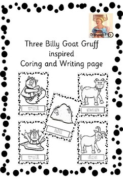 Three Billy Goat Gruff inspired Coring and Writing page