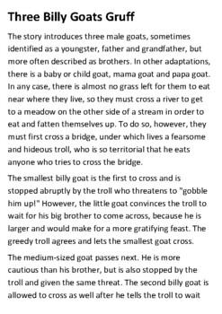 Three Billy Goats Gruff Story Handout