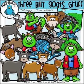 Three Billy Goats Gruff Clip Art Set - Chirp Graphics