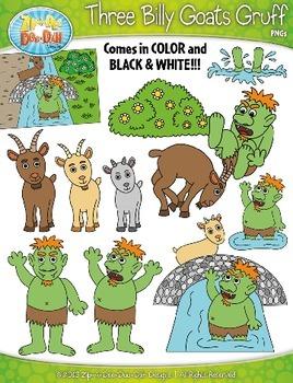Three Billy Goats Gruff Fairy Tale Clipart {Zip-A-Dee-Doo-Dah Designs}