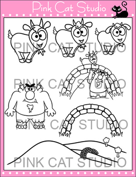 Three Billy Goats Gruff Clip Art Set - Personal & Commercial Use