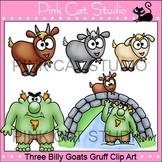 Three Billy Goats Gruff Clip Art - goats, troll, bridge, meadow