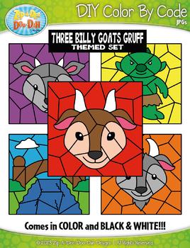 Three Billy Goats Gruff Color By Code Clipart {Zip-A-Dee-Doo-Dah Designs}