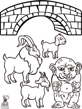 Three Billy Goats Gruff Magnet/Flannel Board Black and White Printable