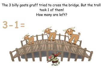 Three Billy Goats Gruff Simple Subtraction Smart Board
