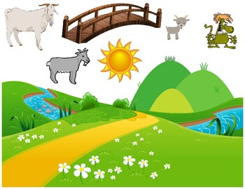 Three Billy Goats Gruff sticker page - Preschool