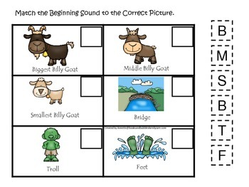Three Billy Goats Gruff themed Beginning Sounds preschool educational game.