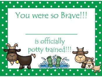 Three Billy Goats Gruff themed Daycare Health Hygiene Potty Chart and Certificat