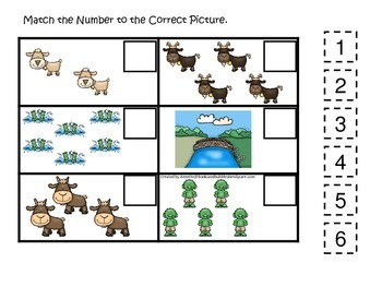 Three Billy Goats Gruff themed Match the Number preschool educational game.