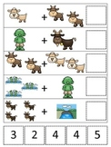Three Billy Goats Gruff themed Math Addition preschool printable math activity.