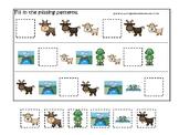 Three Billy Goats Gruff themed Missing Pattern preschool math educational game.