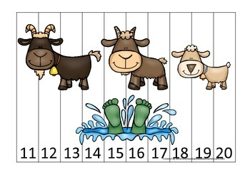 Three Billy Goats Gruff themed Number Sequence Puzzle 11-20 preschool activity.