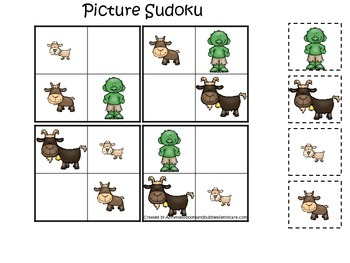 Three Billy Goats Gruff themed Picture Sudoku preschool educational game.
