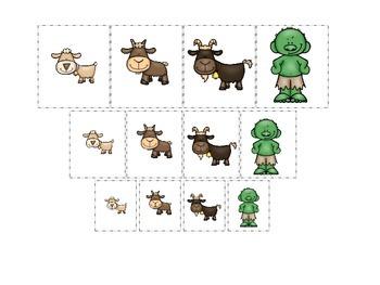 Three Billy Goats Gruff themed Size Sorting preschool educational game.