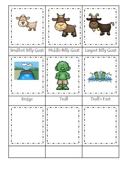 Three Billy Goats Gruff themed Three Part Matching preschool educational game.