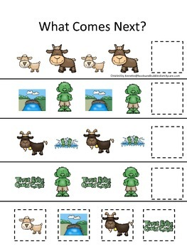 Three Billy Goats Gruff themed What Comes Next preschool educational game.
