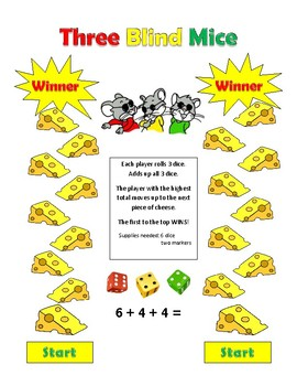 Three Blind Mice Addition GAME with 3 addends! Great math center - uses dice