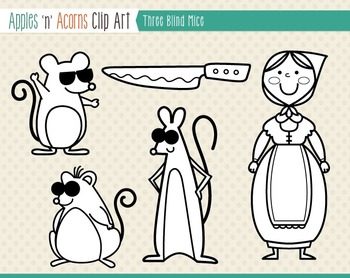 Three Blind Mice Clip Art - color and outlines
