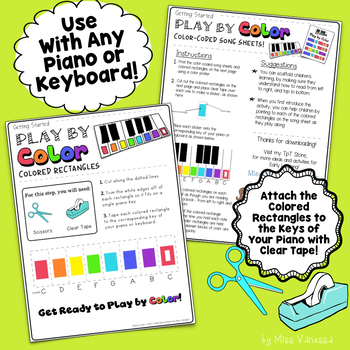 Three Blind Mice Color-Coded Piano Song Sheet, It's Easy & Fun to Play by Color!