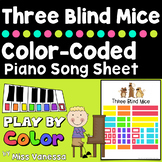 Three Blind Mice Color-Coded Easy To Play Song Sheet